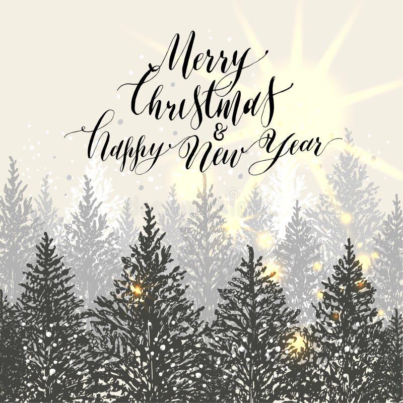 συρμένο Χριστούγεννα χέρι &k Νέα δέντρα έτους με το χιόνι Calligraphi ελεύθερη απεικόνιση δικαιώματος