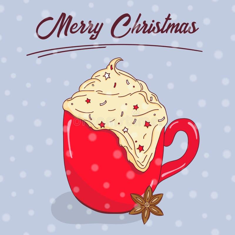 συρμένο Χριστούγεννα χέρι &k Χαρούμενα Χριστούγεννα και νέα τυπογραφία έτους Χαριτωμένη ευχετήρια κάρτα, πρόσκληση, αφίσα και πρό απεικόνιση αποθεμάτων