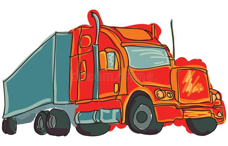 Συρμένο χρωματισμένο φορτηγό διανυσματική απεικόνιση