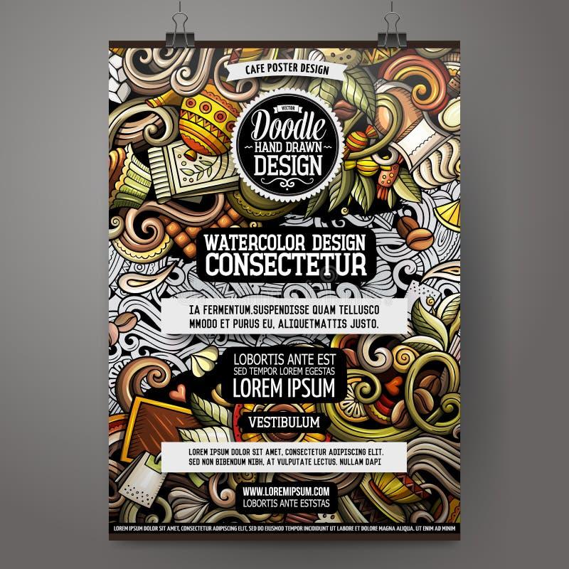 Συρμένο doodles σχέδιο αφισών καφέδων κινούμενων σχεδίων χέρι διανυσματική απεικόνιση