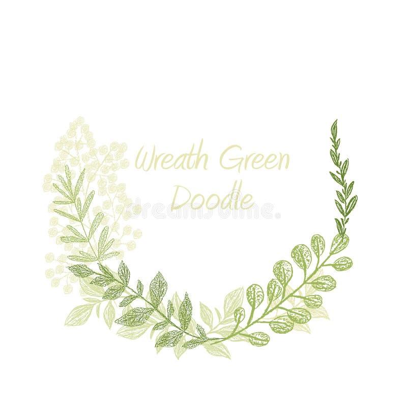 Συρμένο floral διάνυσμα στεφανιών πρασινάδων doodle χέρι ελεύθερη απεικόνιση δικαιώματος