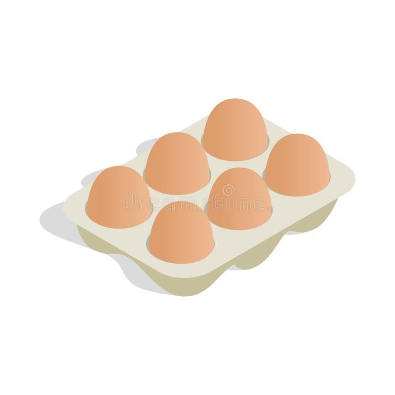 Συσκευάζοντας για τα αυγά το εικονίδιο, isometric τρισδιάστατο ύφος διανυσματική απεικόνιση