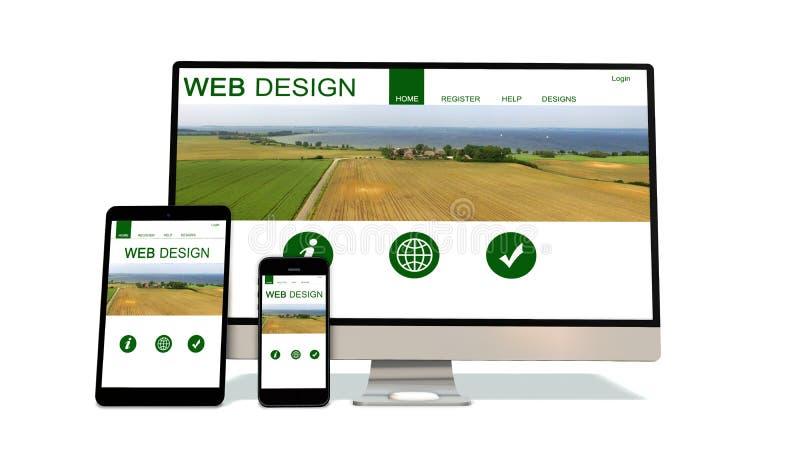 Συσκευές απαντητικές με το απαντητικό σχέδιο ιστοχώρου απεικόνιση αποθεμάτων
