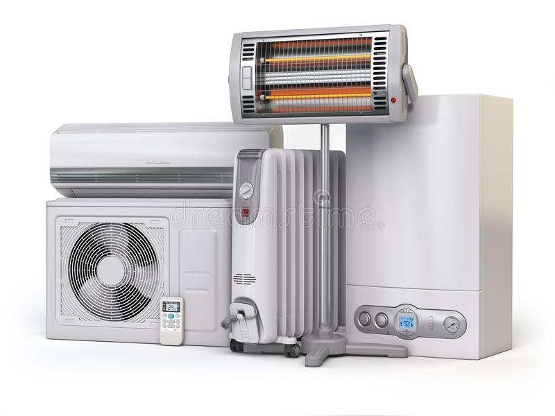 Συσκευές θέρμανσης και εξοπλισμός κλίματος Οικιακό applia θέρμανσης διανυσματική απεικόνιση