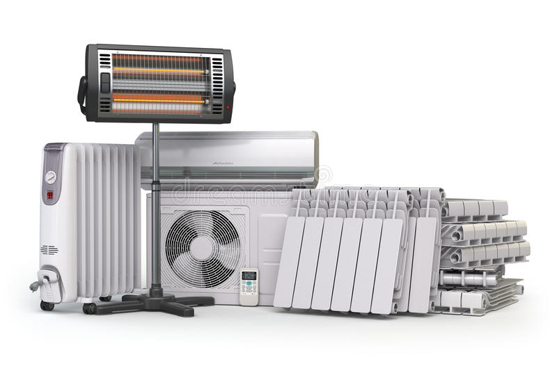 Συσκευές θέρμανσης και εξοπλισμός κλίματος Οικιακό applia θέρμανσης απεικόνιση αποθεμάτων