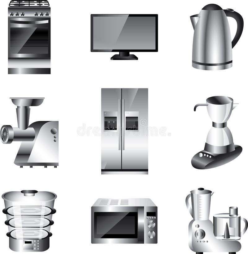 Συσκευές κουζινών καθορισμένες ελεύθερη απεικόνιση δικαιώματος