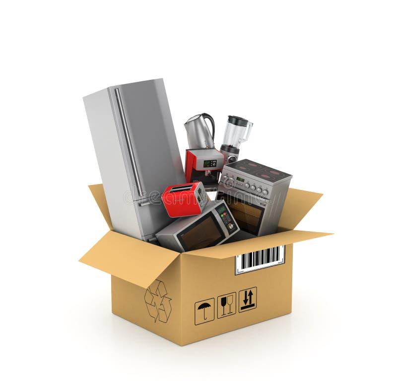 Συσκευές κουζινών στο κουτί από χαρτόνι απεικόνιση αποθεμάτων