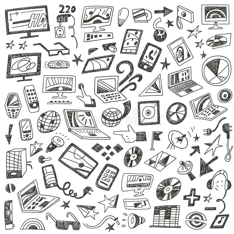 Συσκευές, υπολογιστές - doodles θέστε διανυσματική απεικόνιση