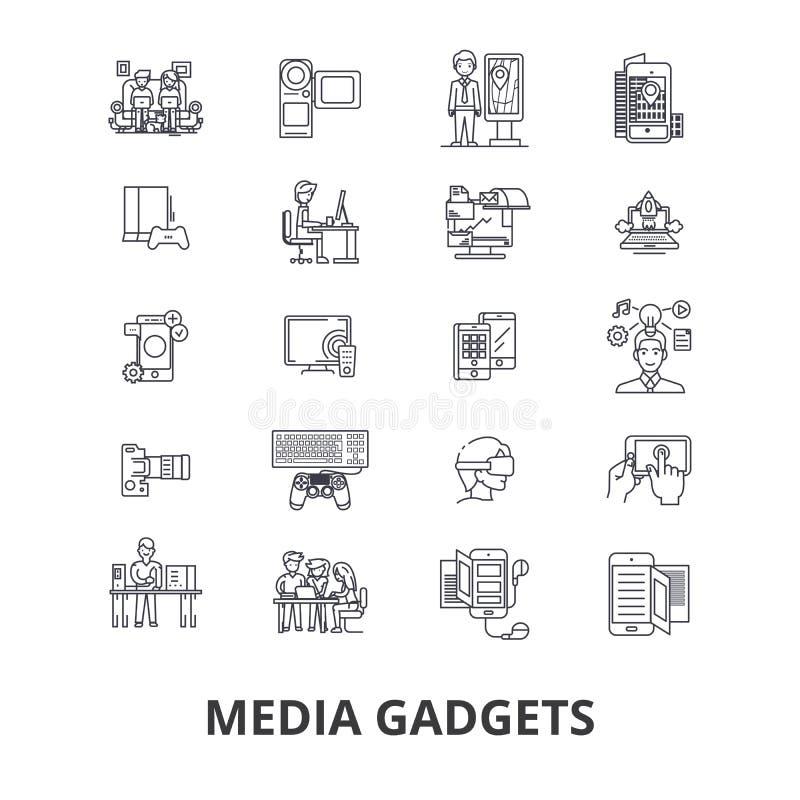Συσκευές MEDIA, εφημερίδα, ειδήσεις, Τύπος, κοινωνική διαφήμιση, TV, βίντεο, εικονίδια γραμμών σημειωματάριων Κτυπήματα Editable  διανυσματική απεικόνιση