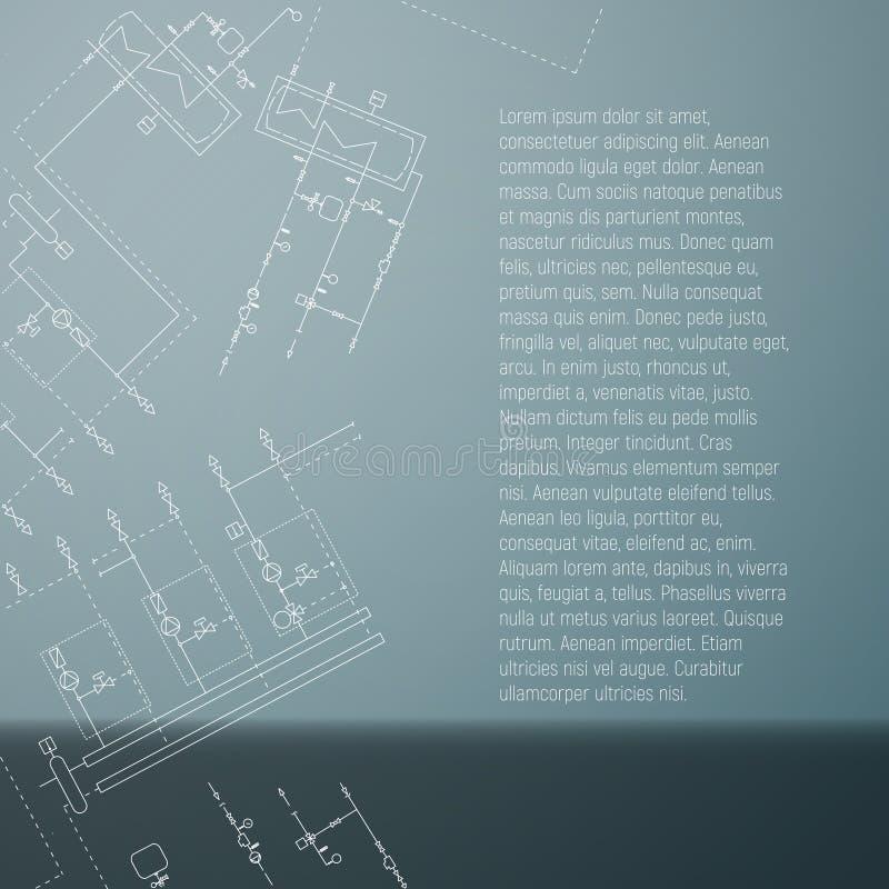 Συσκευή λεβήτων αερίου Τεχνική κάρτα με το σχεδιάγραμμα εφαρμοσμένης μηχανικής ελεύθερη απεικόνιση δικαιώματος