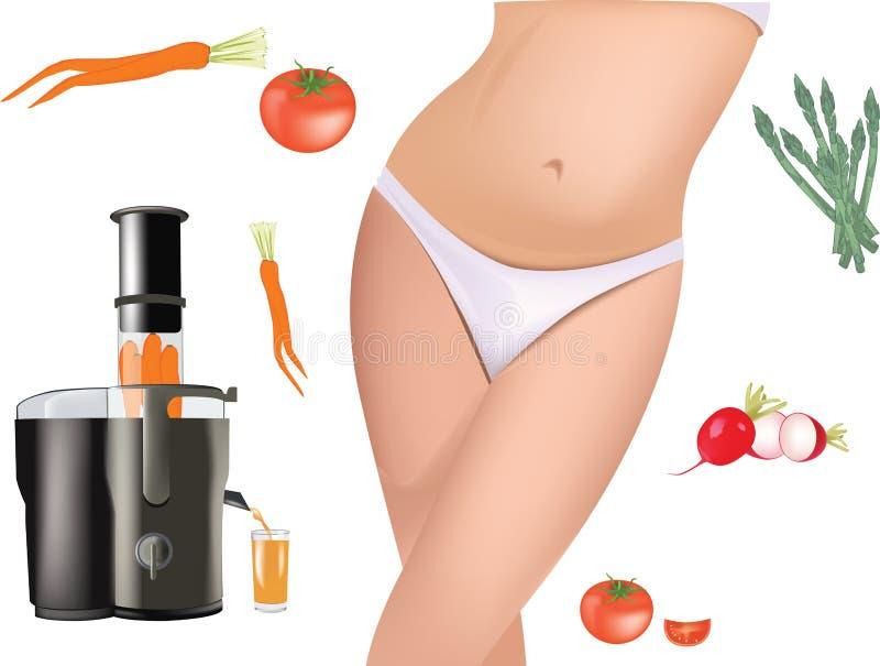 Συσκευή με τα φυγοκεντρικά τρέχοντα λαχανικά και τα φρούτα ελεύθερη απεικόνιση δικαιώματος