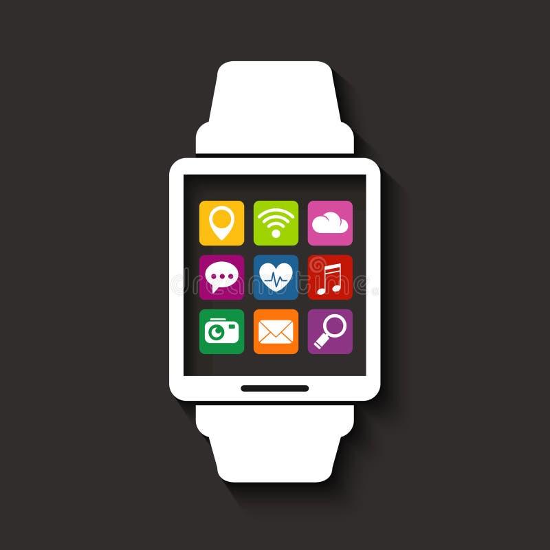 Συσκευή τεχνολογίας Wearables με τα εικονίδια apps διανυσματική απεικόνιση