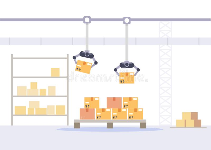 Συσκευασία εργοστασίων και έννοια καταστημάτων Αποθήκη εμπορευμάτων με την επίπεδη διανυσματική απεικόνιση κιβωτίων διανυσματική απεικόνιση