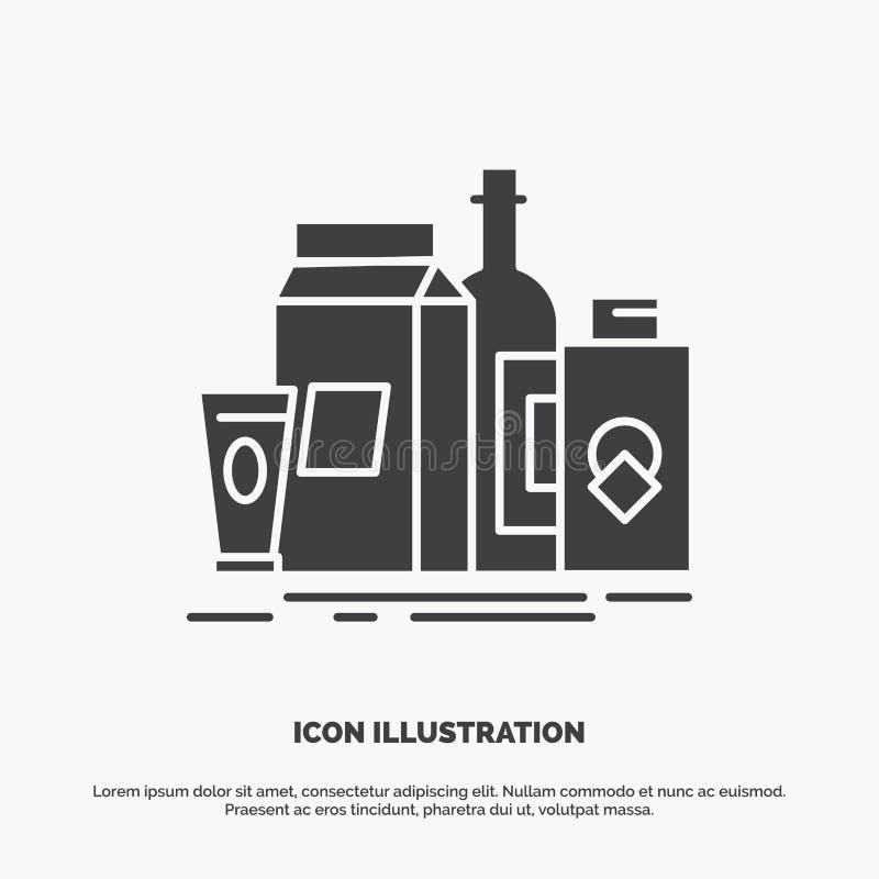 συσκευασία, μαρκάρισμα, μάρκετινγκ, προϊόν, εικονίδιο μπουκαλιών glyph διανυσματικό γκρίζο σύμβολο για UI και UX, τον ιστοχώρο ή  ελεύθερη απεικόνιση δικαιώματος