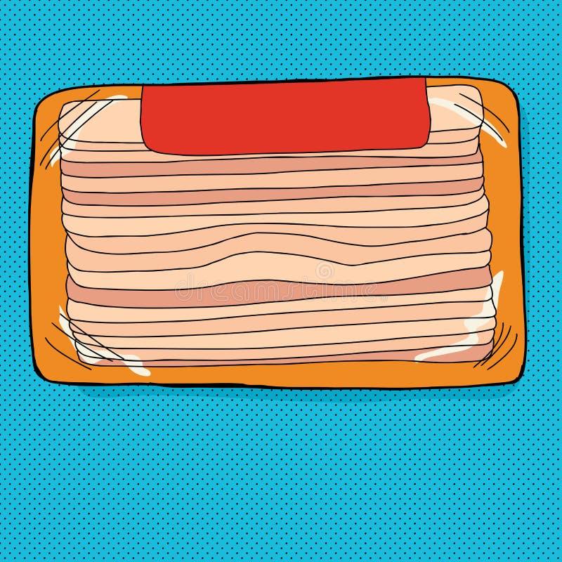 Συσκευασία μπέϊκον με την ετικέτα ελεύθερη απεικόνιση δικαιώματος