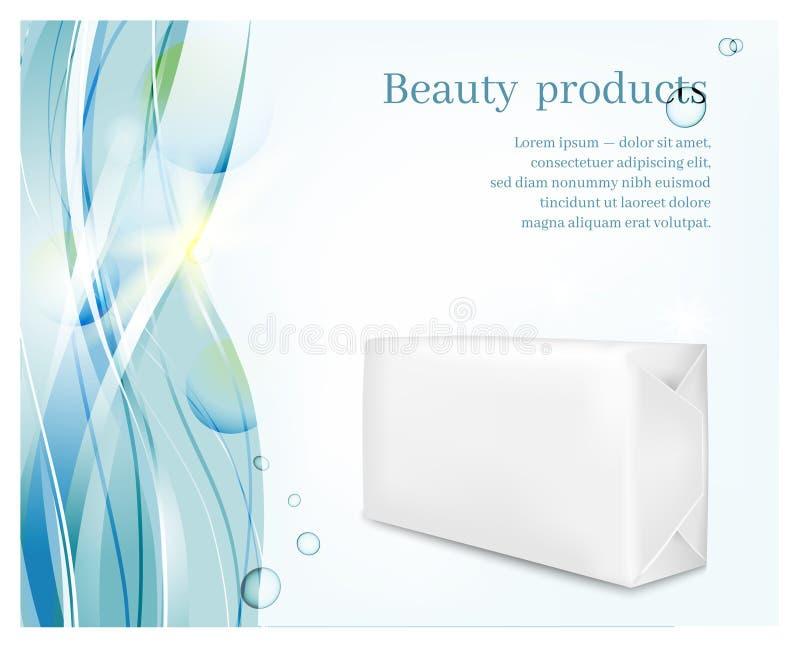Συσκευασία της Λευκής Βίβλου στο μπλε υπόβαθρο κυμάτων Σακούλι για το σαπούνι διανυσματική απεικόνιση