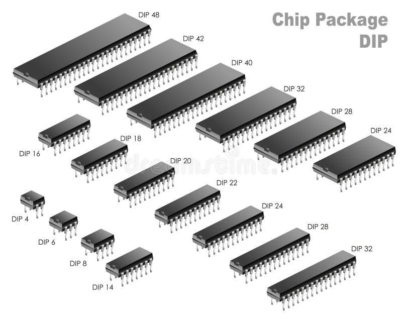 Συσκευασία τσιπ (ΕΜΒΥΘΙΣΗ) διανυσματική απεικόνιση