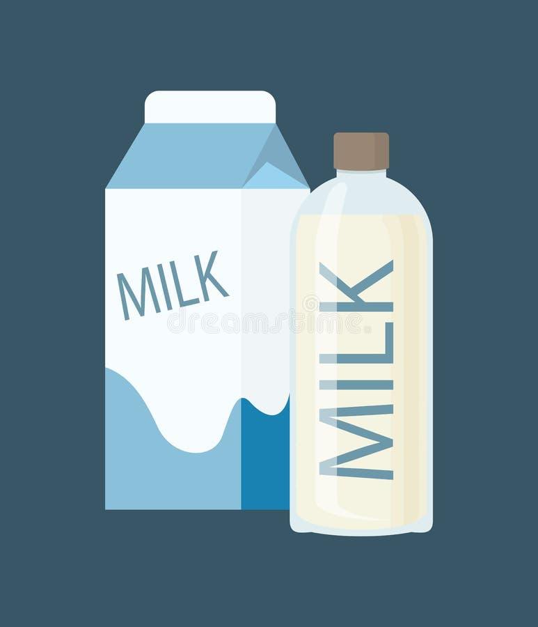 Συσκευασία χαρτοκιβωτίων γάλακτος και διανυσματική απεικόνιση μπουκαλιών διανυσματική απεικόνιση