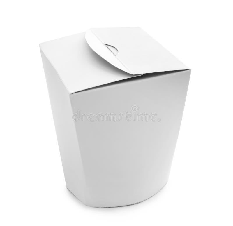 Συσκευασία χαρτοκιβωτίων στο άσπρο υπόβαθρο Υπηρεσία παράδοσης τροφίμων στοκ εικόνες