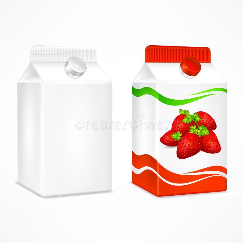 Συσκευασία χυμού φραουλών διανυσματική απεικόνιση