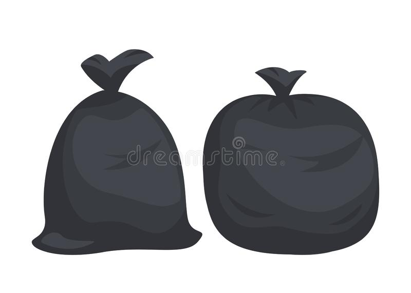 Συσκευασίες με τα απορρίματα Μεγάλες μαύρες πλαστικές τσάντες με τα απόβλητα που απομονώνονται στο άσπρο υπόβαθρο Σύνολο τσαντών  στοκ εικόνα