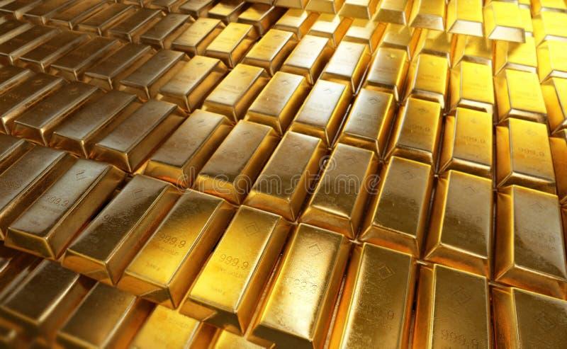 Συσσωρευμένη shinny χρυσή φραγμοί ή ράβδος απεικόνιση αποθεμάτων