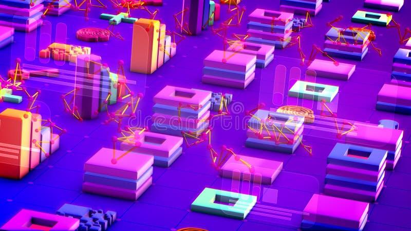 Συσσωρευμένοι αφηρημένοι σημάδια και αριθμοί Techno ελεύθερη απεικόνιση δικαιώματος