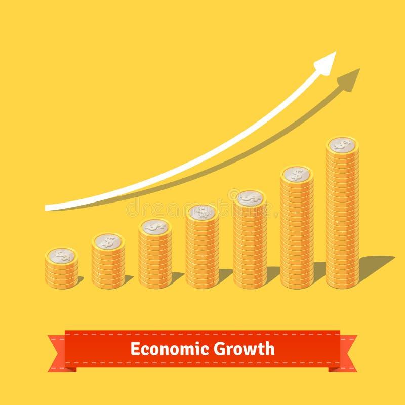 Συσσωρευμένο διάγραμμα αύξησης νομισμάτων Αυξανόμενη έννοια εισοδήματος ελεύθερη απεικόνιση δικαιώματος