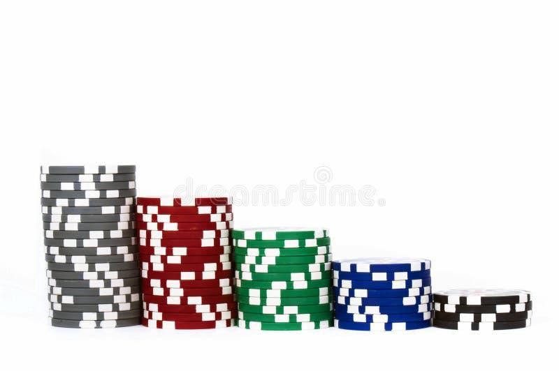 συσσωρευμένο τσιπ πόκερ στοκ φωτογραφία