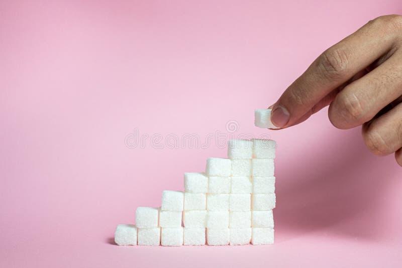 Συσσωρεύστε τους κύβους ζάχαρης από την άνοδο για να οδοντώσει το υπόβαθρο - η έννοια του υψηλού κινδύνου ζάχαρης αίματος στοκ εικόνες με δικαίωμα ελεύθερης χρήσης
