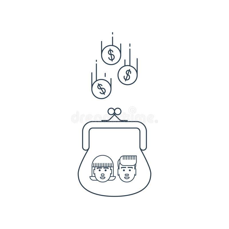 Συσσώρευση χρημάτων παιδιών, έννοια επιδόματος ελεύθερη απεικόνιση δικαιώματος