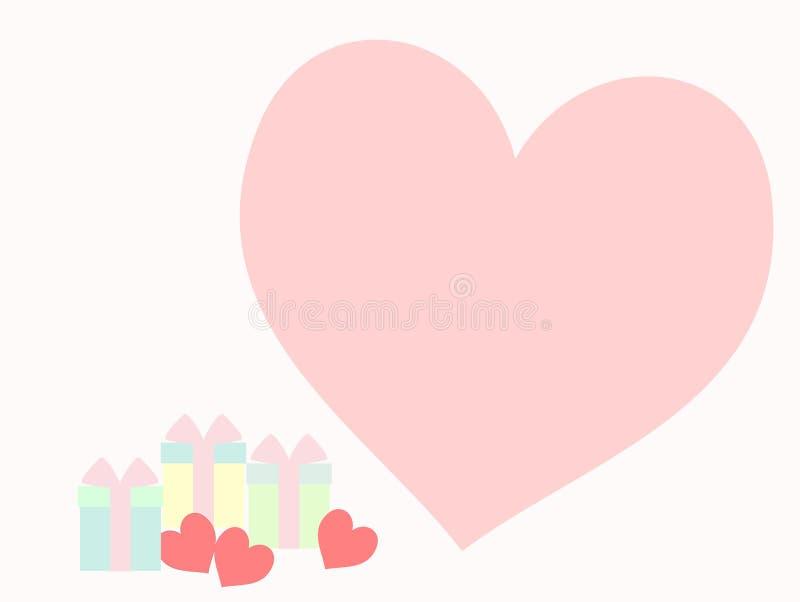 Συστάδα των καλών κιβωτίων δώρων και τρεις μικρές ρόδινες καρδιές στο χρώμα κρητιδογραφιών τονίζουν απεικόνιση αποθεμάτων
