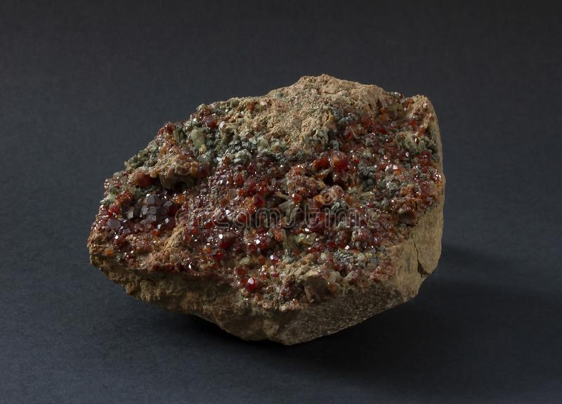 Συστάδα των κρυστάλλων Almandine γρανατών από την Ιταλία στοκ εικόνα