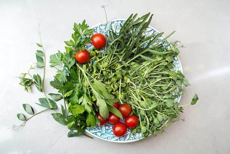 Συστατικά για την προετοιμασία της θερινής σαλάτας Ντομάτα κερασιών, πρασινάδα, στοκ εικόνες με δικαίωμα ελεύθερης χρήσης