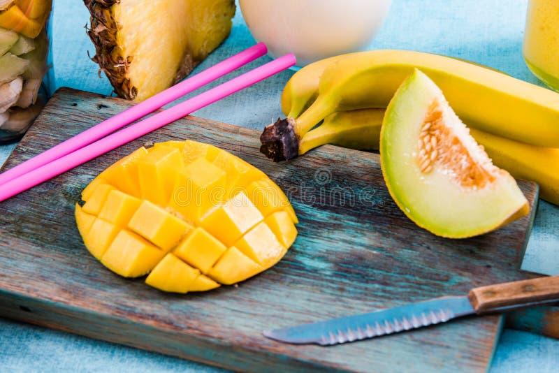 Συστατικά για τον εξωτικό καταφερτζή φρούτων στοκ εικόνα