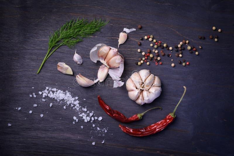 Συστατικά καρυκευμάτων: καρυκεύματα, μίγμα πιπεριών, πιπέρι τσίλι, σκόρδο, άνηθος, άλας Τοπ άποψη σχετικά με τον αγροτικό ξύλινο  στοκ εικόνες