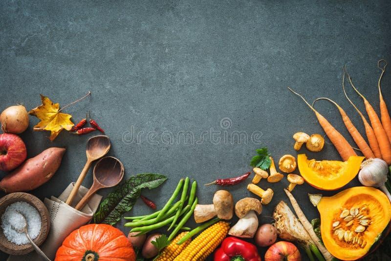 Συστατικά λαχανικών φθινοπώρου για τη νόστιμο ημέρα των ευχαριστιών ή Christma στοκ φωτογραφίες