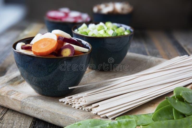 Συστατικά σούπας νουντλς Udon στοκ φωτογραφίες