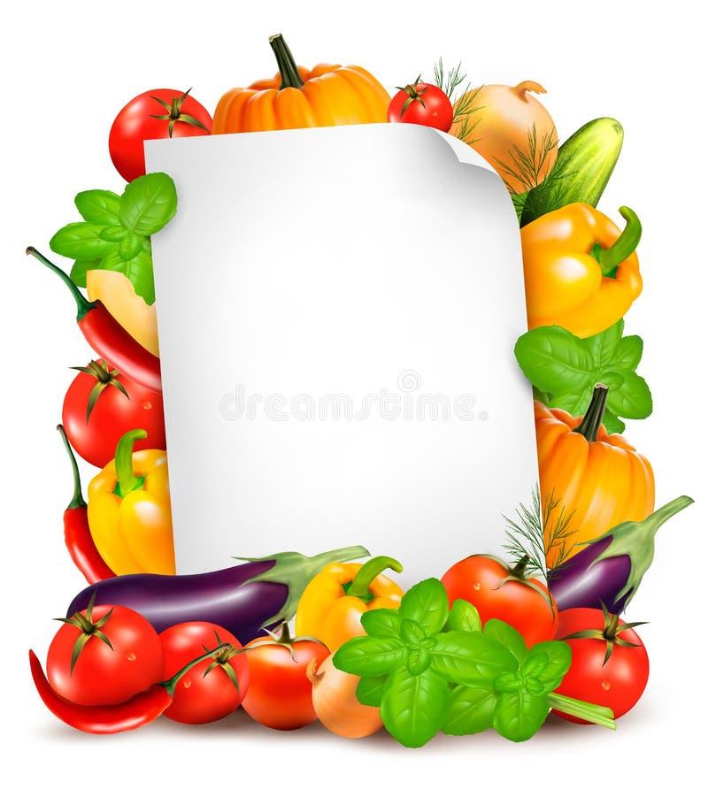 Συστατικά φρέσκων λαχανικών και τροφίμων και φύλλο της Λευκής Βίβλου ελεύθερη απεικόνιση δικαιώματος