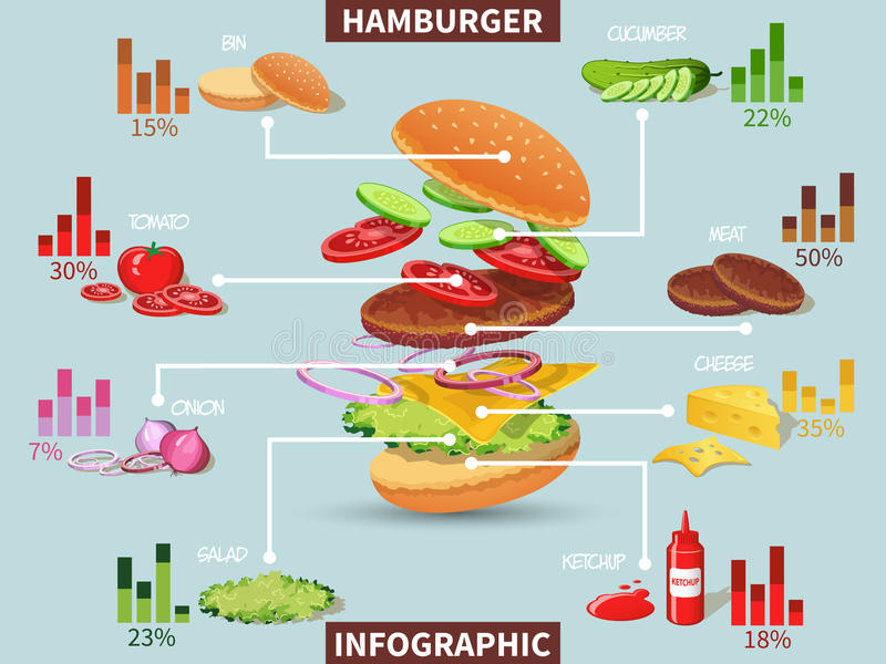 Συστατικά χάμπουργκερ infographic ελεύθερη απεικόνιση δικαιώματος