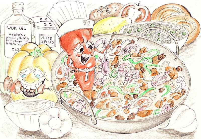 συστατικά wok διανυσματική απεικόνιση