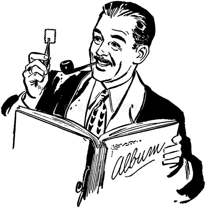 Συλλέκτης γραμματοσήμων διανυσματική απεικόνιση