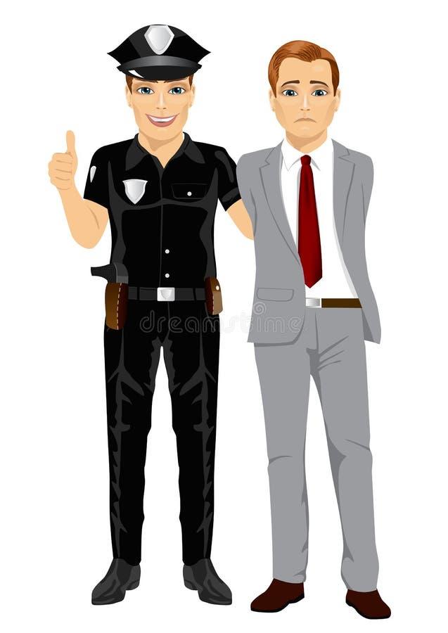 Συλλαμβάνοντας επιχειρηματίας αστυνομικών Υπαλληλικό εγκληματικό άσπρο υπόβαθρο απεικόνιση αποθεμάτων