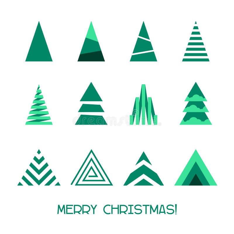 Συλλογή δέντρων Χαρούμενα Χριστούγεννας για τη διακόσμηση χειμερινών διακοπών απεικόνιση αποθεμάτων