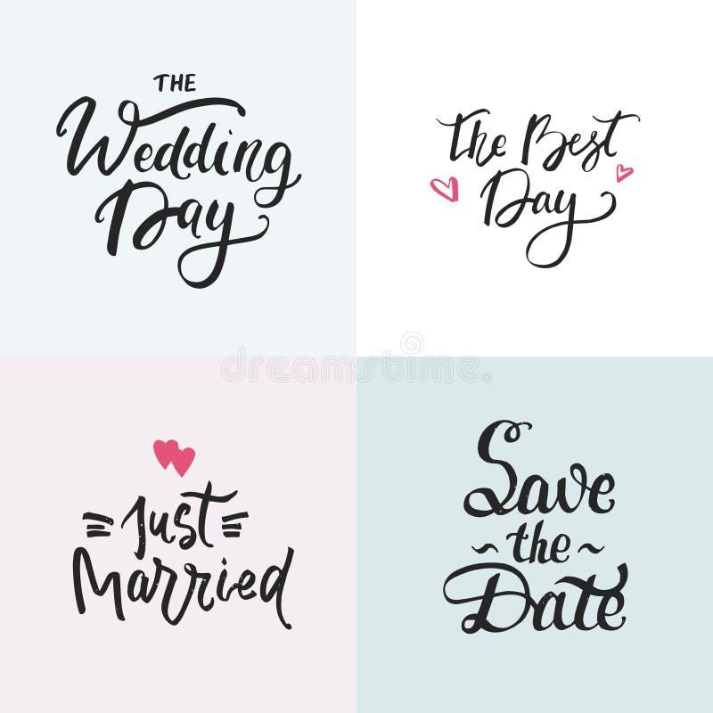 Συλλογή γαμήλιων καρτών με τη handdrawn εγγραφή Φράση για τις γαμήλιες προσκλήσεις απεικόνιση αποθεμάτων