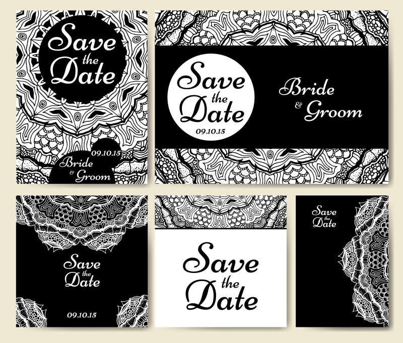 Συλλογή γαμήλιων καρτών με το mandala Πρότυπο της κάρτας πρόσκλησης Διακοσμητικό σχέδιο invitaion χαιρετισμού με το εκλεκτής ποιό ελεύθερη απεικόνιση δικαιώματος