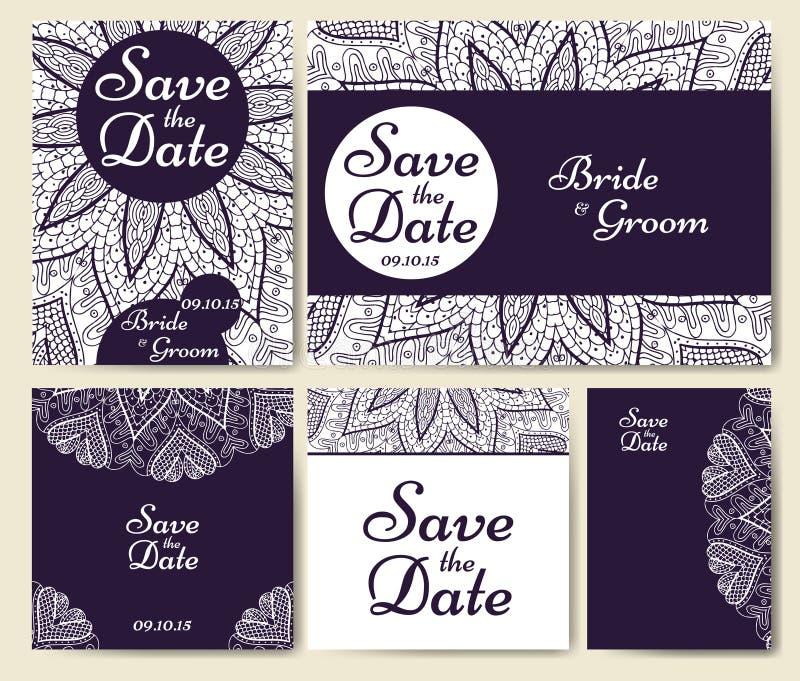 Συλλογή γαμήλιων καρτών με το mandala Πρότυπο της κάρτας πρόσκλησης Διακοσμητικό σχέδιο invitaion χαιρετισμού με το εκλεκτής ποιό διανυσματική απεικόνιση