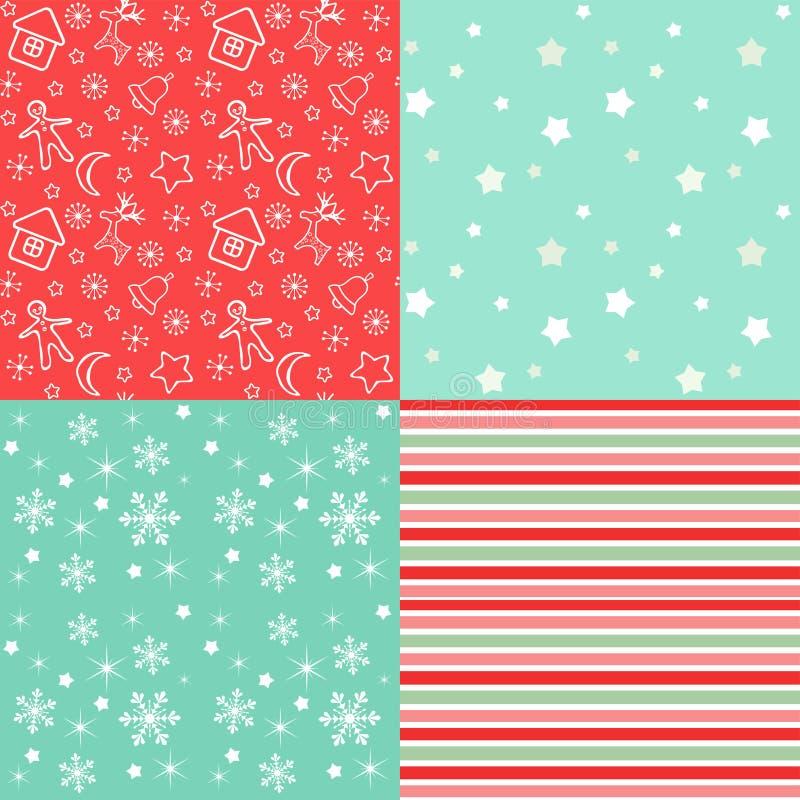 Συλλογή για το λεύκωμα αποκομμάτων Κόκκινος-πράσινο άνευ ραφής διανυσματική απεικόνιση