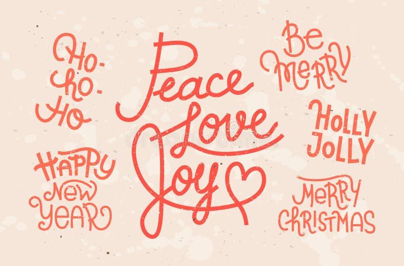 Συλλογή γραπτών των χέρι φράσεων Χριστουγέννων διανυσματική απεικόνιση
