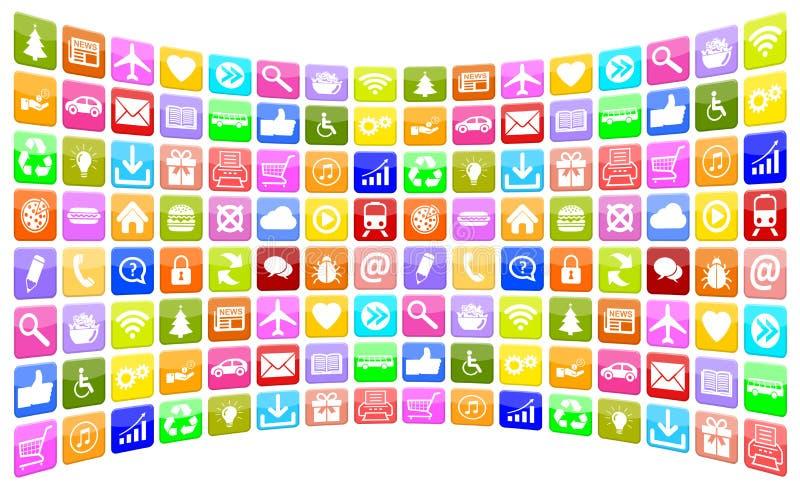 Συλλογή εικονιδίων εικονιδίων Apps App εφαρμογής για το κινητό ή έξυπνο π διανυσματική απεικόνιση